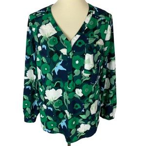 Merona Green Floral Business Casual Blouse